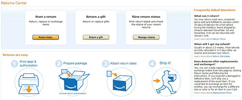 Delivery and returns ecommerce website information